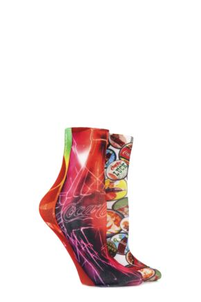 Ladies 2 Pair Coca Cola Bottle and Bottle Tops Printed Socks