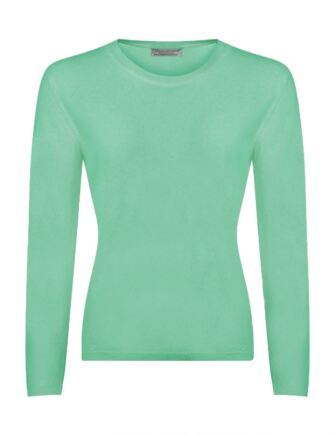 Ladies Great & British Knitwear 100% Extrafine Lambswool Round Neck Jumper Fairway Green Small