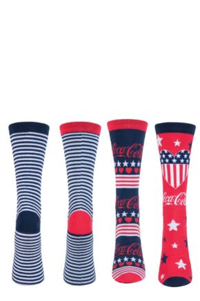 Ladies 2 Pair Coca Cola Striped and Patterned Cotton Socks Red 4-8
