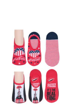 Ladies 2 Pair Coca Cola No Show Socks Red 4-8