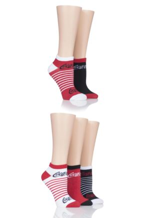 Ladies 5 Pair Coca Cola Shoe Liner Socks