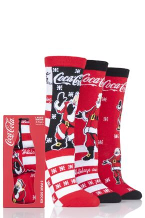 Ladies 3 Pair Coca Cola Santa Design Gift Boxed Socks