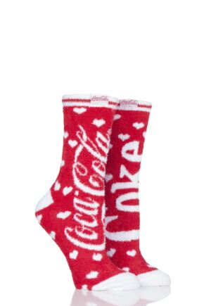 Ladies 2 Pair Coca Cola Cosy Socks