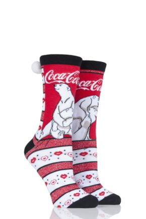 Ladies 2 Pair Coca Cola Polar Bear Crew Socks