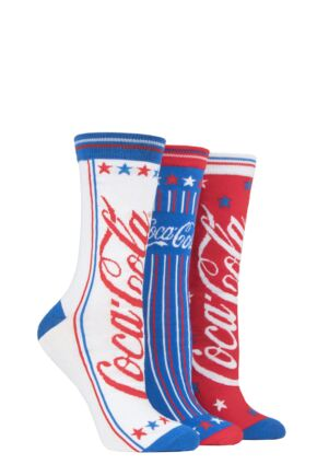 Ladies 3 Pair Coca Cola Star and Stripes Socks