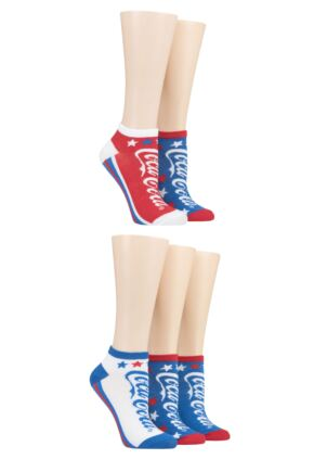 Ladies 5 Pair Coca Cola Star Shoe Liner Socks
