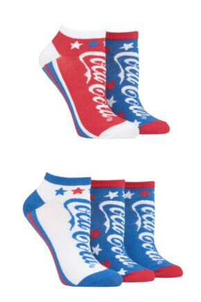 Ladies 5 Pair Coca Cola Star Shoe Low Cut Trainer Socks