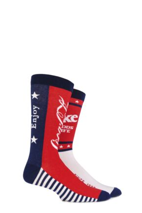 Mens 2 Pair Coca Cola Stars and Stripes True Socks