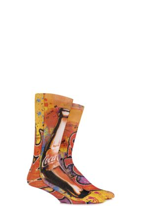 Mens 1 Pair Coca Cola Graffiti Bottle Printed Socks Orange