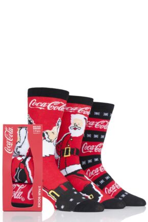 Mens 3 Pair Coca Cola Santa Design Gift Boxed Socks