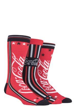 Mens 3 Pair Coca Cola Star and Stripes Tube Socks