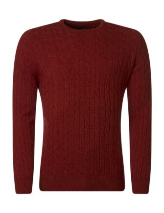 Mens Great & British Knitwear 100% Lambswool Cable & Rib Crew Neck Jumper Lava B Small