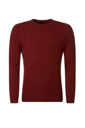 Mens Great & British Knitwear 100% Lambswool Cable & Rib Crew Neck Jumper Lava E Extra Large