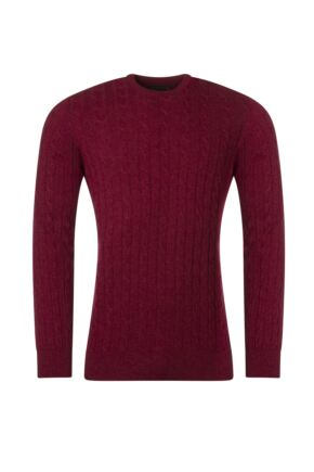 Mens Great & British Knitwear 100% Lambswool Cable & Rib Crew Neck Jumper Tapestry C Medium