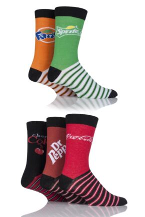 Mens and Ladies 5 Pair Coca Cola, Dr Pepper, Fanta, Sprite and Cherry Coke Socks