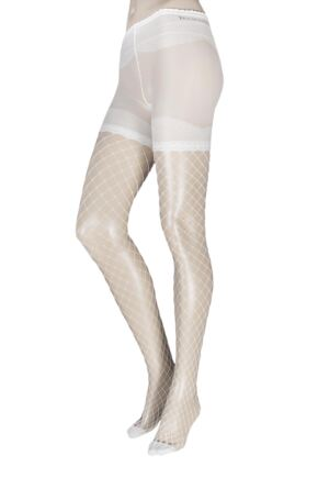 Ladies 1 Pair Trasparenze Crocus Sheer and Fishnet Tights Seta Large