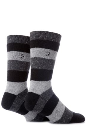 Mens 2 Pair Farah Striped Leisure Socks With Flat Knit And Full Terry Block