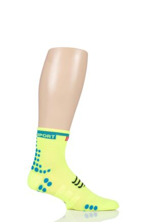 Compressport 1 Pair High Cut V3.0 Racing Running Socks Fluo Yellow 7.5-10 Unisex