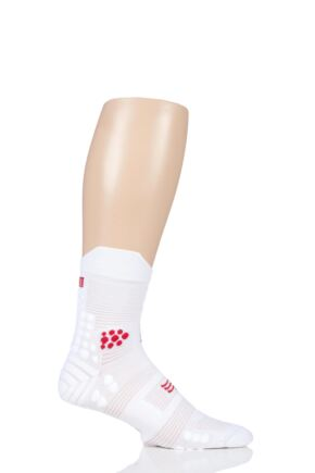 Compressport 1 Pair High Cut V3.0 Trail Socks Smart White 7.5-10 Unisex