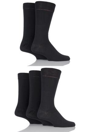 Mens 5 Pair Farah Classic Everyday Plain and Argyle Jacquard Cotton Socks