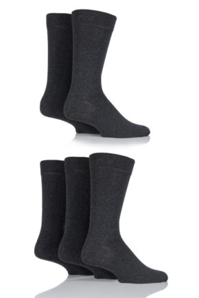 Mens 5 Pair Farah Classic Everyday Plain Jacquard Cotton Socks