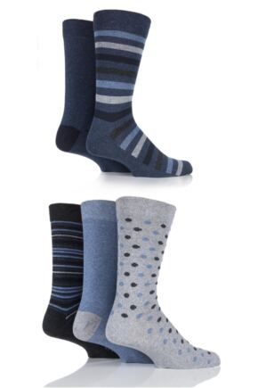 Mens 5 Pair Farah Classic Everyday Patterned Jacquard Cotton Socks