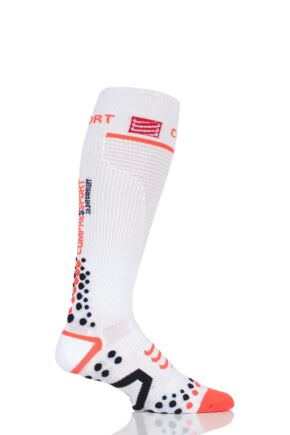 Compressport 1 Pair Full Length V2.1 Compression Socks White 7.5-10 Unisex (30-38cm Calf)