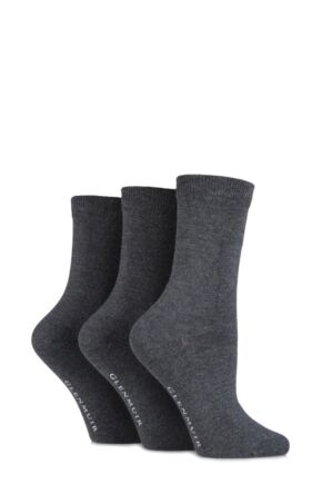 Ladies 3 Pair Glenmuir Classic Plain Bamboo Socks Grey 4-8