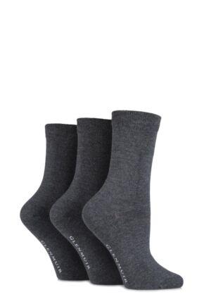 Ladies 3 Pair Glenmuir Classic Plain Bamboo Socks Grey 4-8