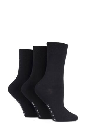 Ladies 3 Pair Glenmuir Comfort Cuff Plain Bamboo Socks