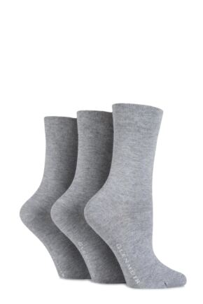 Ladies 3 Pair Glenmuir Comfort Cuff Plain Bamboo Socks Grey 4-8