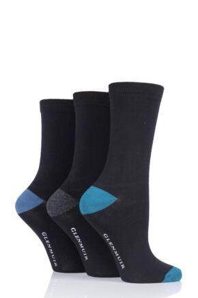 Ladies 3 Pair Glenmuir Contrast Heel and Toe Bamboo Socks