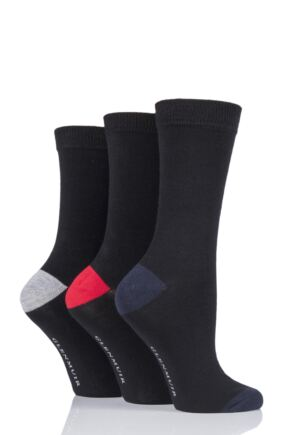 Ladies 3 Pair Glenmuir Contrast Heel and Toe Bamboo Socks