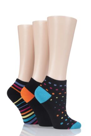 Ladies 3 Pair Glenmuir Plain and Patterned Bamboo Secret Socks