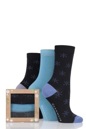 Ladies 3 Pair Glenmuir Snowflake Bamboo Socks In Bamboo Gift Box