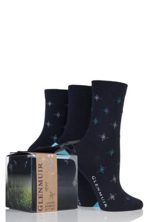 Ladies 3 Pair Glenmuir Snowflake and Plain Bamboo Socks In Gift Box