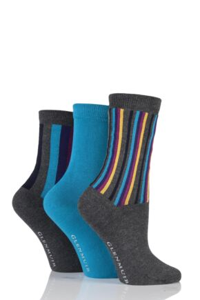 Ladies 3 Pair Glenmuir Vertical Stripe and Plain Bamboo Socks In Gift Box Charcoal 4-8 Ladies
