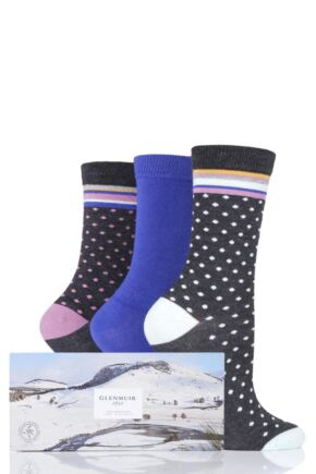 Ladies 3 Pair Glenmuir Dots and Plain Gift Boxed Bamboo Socks
