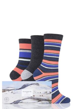 Ladies 3 Pair Glenmuir Stripes and Plain Gift Boxed Bamboo Socks