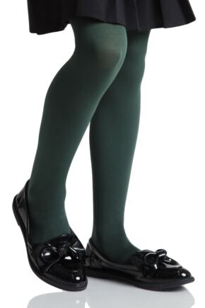 Girls 2 Pair Pretty Legs 70 Denier Opaque School Tights Bottle Green 9-11 Years