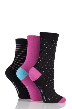 Ladies 3 Pair Glenmuir Dot Plain and Stripe Bamboo Socks