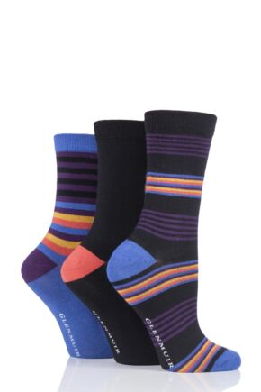 Ladies 3 Pair Glenmuir Multi Stripe and Plain Bamboo Socks