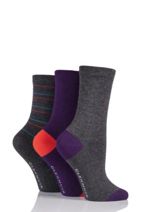 Ladies 3 Pair Glenmuir Dot Plain and Stripe Bamboo Socks Charcoal 4-8 Ladies