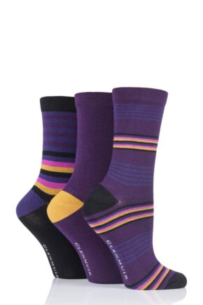 Ladies 3 Pair Glenmuir Multi Stripe and Plain Bamboo Socks Purple 4-8 Ladies