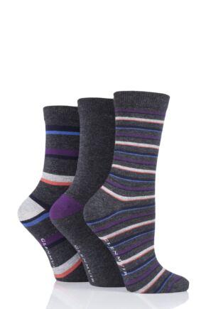 Ladies 3 Pair Glenmuir Stripe and Plain Bamboo Socks