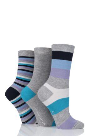 Ladies 3 Pair Glenmuir Striped and Plain Bamboo Socks