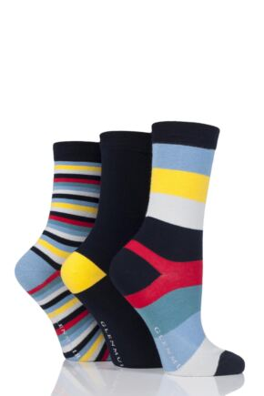 Ladies 3 Pair Glenmuir Striped and Plain Bamboo Socks
