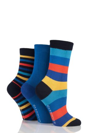 Ladies 3 Pair Glenmuir Mixed Stripe and Plain Bamboo Socks