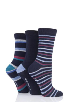 Ladies 3 Pair Glenmuir Stripe and Plain Bamboo Socks