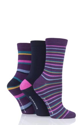 Ladies 3 Pair Glenmuir Stripe and Plain Bamboo Socks Purple 4-8 Ladies